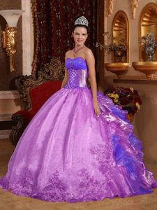 Newest Violet Sweetheart Quinces Dress with Embroidery and Ruffles