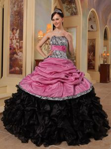 Zebra Print Pick-ups and Ruffles Quinces Dresses in Pink and Black