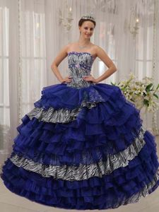 Fitted Zebra Print Quinceanera Gown with Ruffled Layers