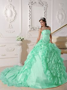 Graceful Apple Green Pick-ups Sweet Sixteen Dress with Court Train