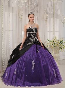 Purple and Black Dresses Quinceanera with Appliques and Beading