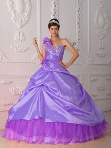 Hand Made Flowers Purple One Shoulder Sweet 16 Dress