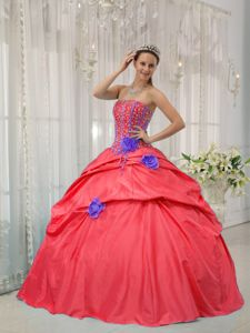 Red Ball Gown Beading Quinceanera Dress with Hand Made Flowers