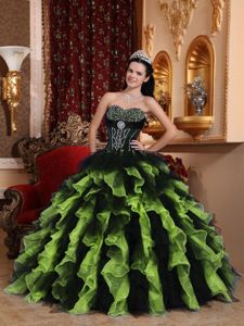 Two-toned Dress for Sweet 16 Beading with Ruffled Layers Hot Sale