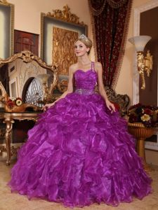Classic One Shoulder Ruffles Purple Sweet 16 Dresses with Beading