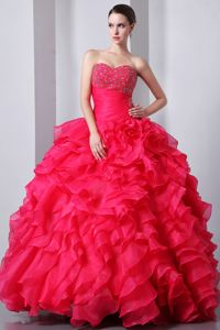 Beaded and Ruched Quinceanera Dress Ruffled Layers in Coral Red