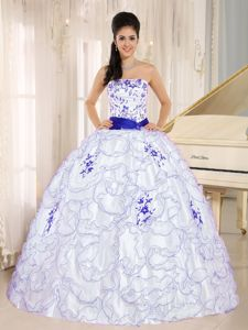 Bambi Awards White Ruffled Quince Dresses with Blue Ribbon and Embroidery