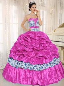 Tiered Beading Printing Dress for Quince with Pick-ups and Ribbon