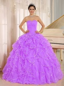 Strapless Lilac Quinceanera Gown with Ruffles Custom Made