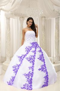 White Strapless Quinceanera Party Dress with Purple Embroidery