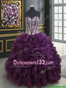 Vintage Dark Purple Ball Gowns Organza Sweetheart Sleeveless Beading and Ruffles Floor Length Lace Up Quinceanera Gowns