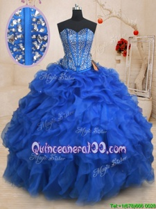 Modern Floor Length Royal Blue Vestidos de Quinceanera Organza Sleeveless Spring and Summer and Fall and Winter Beading and Ruffles