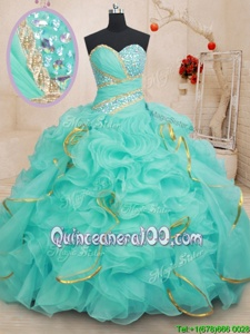Eye-catching Beading and Ruffles and Sequins 15 Quinceanera Dress Apple Green Lace Up Sleeveless Floor Length