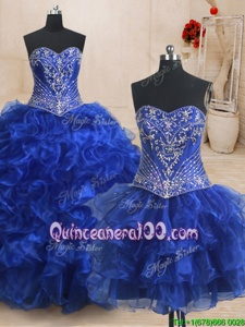 Decent Three Piece Royal Blue Organza Lace Up Sweet 16 Quinceanera Dress Sleeveless With Brush Train Beading and Ruffles