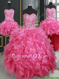 Stunning Four Piece Hot Pink Ball Gowns Organza Sweetheart Sleeveless Beading and Ruffles Floor Length Lace Up 15 Quinceanera Dress