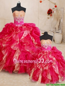 Customized Multi-color Sweetheart Neckline Beading and Ruffles 15 Quinceanera Dress Sleeveless Lace Up