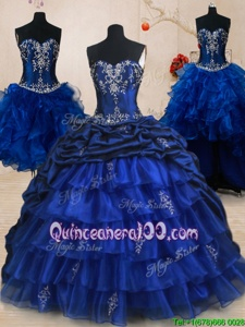 Vintage Four Piece Royal Blue Organza and Taffeta Lace Up Sweetheart Sleeveless With Train Quinceanera Dresses Brush Train Beading and Ruffled Layers and Pick Ups