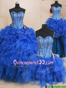 Suitable Four Piece Sweetheart Sleeveless Quinceanera Gowns Floor Length Beading and Ruffles Royal Blue Organza