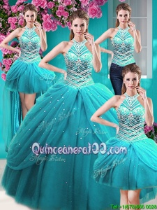 Fashionable Four Piece Halter Top Floor Length Lace Up Quinceanera Dress Aqua Blue and In forMilitary Ball and Sweet 16 and Quinceanera withBeading and Pick Ups