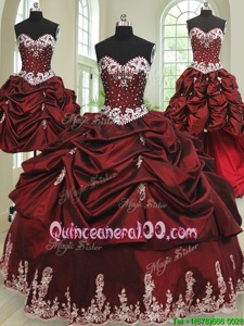 Fitting Four Piece Floor Length Lace Up 15th Birthday Dress Wine Red and In forMilitary Ball and Sweet 16 and Quinceanera withBeading and Appliques and Pick Ups