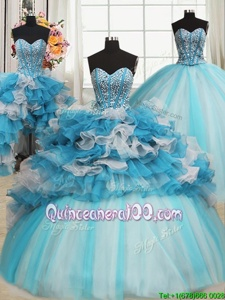 Suitable Sweetheart Sleeveless Sweet 16 Quinceanera Dress Floor Length Beading and Ruffles Blue And White Organza and Tulle