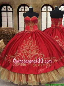 Dramatic Wine Red and Gold Ball Gowns Sweetheart Sleeveless Organza and Taffeta Floor Length Lace Up Beading and Embroidery Sweet 16 Quinceanera Dress