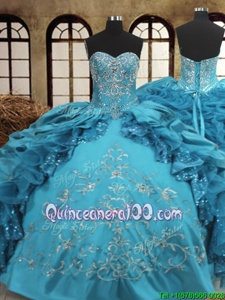 Shining Teal Sleeveless Organza and Taffeta Lace Up Sweet 16 Quinceanera Dress forMilitary Ball and Sweet 16 and Quinceanera