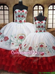 Custom Made EmbroideryRuffled White and Red Organza Lace Up Sweet 16 Quinceanera Dress Sleeveless Floor Length Embroidery and Ruffled Layers