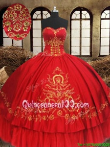 Dazzling Wine Red Organza and Taffeta Lace Up Quinceanera Dress Sleeveless Floor Length Beading and Embroidery