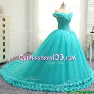 Amazing Off the Shoulder Cap Sleeves Court Train Hand Made Flower Lace Up Quinceanera Dresses