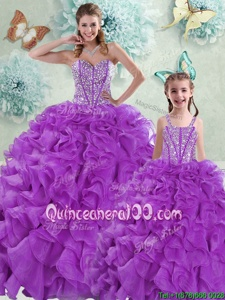 Classical Spring and Summer and Fall and Winter Organza Sleeveless With Train Ball Gown Prom Dress Brush Train andBeading and Ruffles
