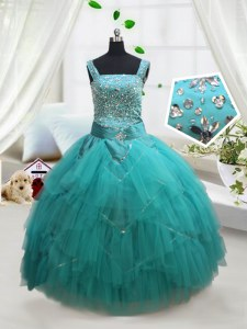 Fashionable Square Sleeveless Lace Up Floor Length Beading and Ruffles and Belt Little Girl Pageant Dress