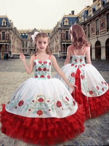 Straps Sleeveless Organza Kids Pageant Dress Embroidery and Ruffles Lace Up