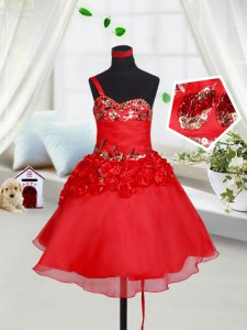 One Shoulder Mini Length Lace Up Flower Girl Dress Red for Quinceanera and Wedding Party with Sequins and Hand Made Flower