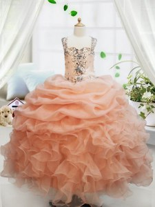 Eye-catching Straps Organza Sleeveless Floor Length Little Girl Pageant Dress and Beading and Ruffles and Pick Ups