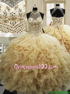 Sleeveless Sweep Train Beading and Ruffles Lace Up Quinceanera Gowns