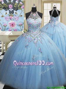 Light Blue Ball Gowns High-neck Sleeveless Tulle Floor Length Lace Up Embroidery Quince Ball Gowns
