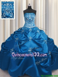 Cheap Teal Taffeta Lace Up Strapless Sleeveless Floor Length Quinceanera Dress Beading and Appliques and Embroidery