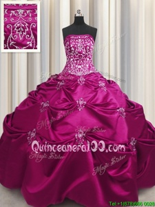 Comfortable Fuchsia Taffeta Lace Up Strapless Sleeveless Floor Length Quinceanera Gown Beading and Appliques and Embroidery