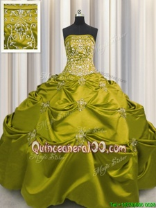 Embroidery Olive Green Sleeveless Taffeta Lace Up Sweet 16 Dresses forMilitary Ball and Sweet 16 and Quinceanera