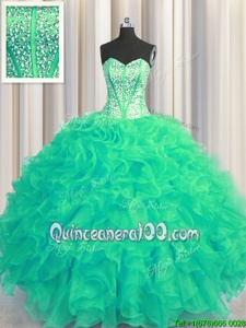Custom Made Visible Boning Beaded Bodice Sweetheart Sleeveless Sweet 16 Quinceanera Dress Floor Length Beading and Ruffles Turquoise Organza
