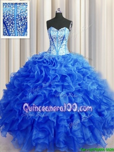 Sophisticated Visible Boning Beaded Bodice Royal Blue Ball Gowns Sweetheart Sleeveless Organza Floor Length Lace Up Beading and Ruffles 15th Birthday Dress