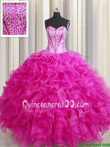 Best Visible Boning Bling-bling Floor Length Lace Up 15 Quinceanera Dress Hot Pink and In forMilitary Ball and Sweet 16 and Quinceanera withBeading and Ruffles
