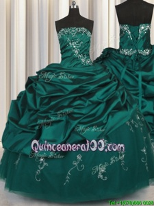 Extravagant Sleeveless Taffeta Floor Length Lace Up 15 Quinceanera Dress inPeacock Green forSpring and Summer and Fall and Winter withBeading and Appliques and Embroidery and Pick Ups