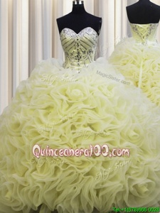 Perfect Brush Train Fabric With Rolling Flowers Sweetheart Sleeveless Lace Up Beading and Pick Ups Quinceanera Gowns inLight Yellow