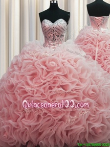 Fashionable Rolling Flowers Brush Train Baby Pink Lace Up Quinceanera Gowns Beading and Pick Ups Sleeveless Floor Length