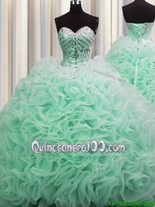 Charming Brush Train Sweetheart Sleeveless Quinceanera Dresses Floor Length Beading and Pick Ups Apple Green Fabric With Rolling Flowers