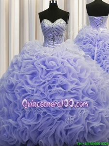 Clearance Rolling Flowers Lavender Lace Up Sweet 16 Dress Beading and Pick Ups Sleeveless Brush Train