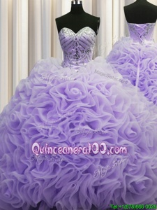 Luxurious Rolling Flowers Brush Train Lavender Sleeveless Beading and Pick Ups Lace Up Quinceanera Dresses