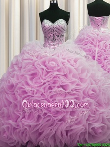 Luxurious Rolling Flowers Lilac Sweet 16 Quinceanera Dress Military Ball and Sweet 16 and Quinceanera and For withBeading and Pick Ups Sweetheart Sleeveless Brush Train Lace Up